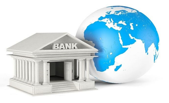 Introduction to Derivatives - American depository receipts; picture of a animated plastic model bank sitting in front of the world depicted by a large toy globe