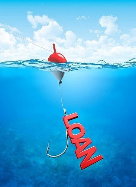 Investing on Margin - An Introduction to Investing on Margin; picture of a fish hook floating in the water capturing a large read loan symbol