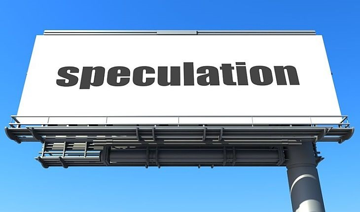 Stock Speculation - An Introduction to Speculation; picture of a large overhead road sign over a freeway with white background board sitting in the clear blue sky above