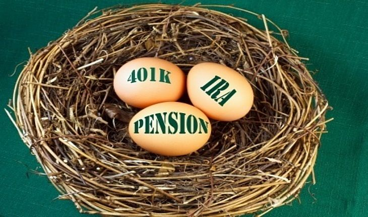 An Overview of Investing - Individual Retirement Accounts; Picture of birds nest with three eggs inside each saying Retirement investment options basket IRA pension and 401K.