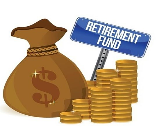 An Overview of Investing - Target Date Retirement Funds; animated Picture of a bag of money with on dollar sign on front and lots of gold coins saving for Retirement investments.