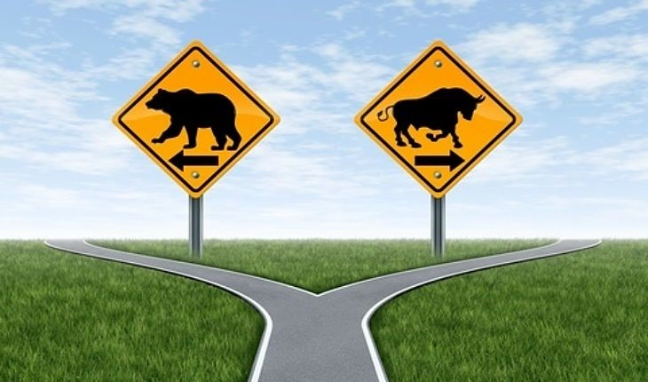 Risk Analysis - Analysis of Stock Market Cycles; picture of a black bear market and a black bull market cycles animals shown on two road signs with a yellow background