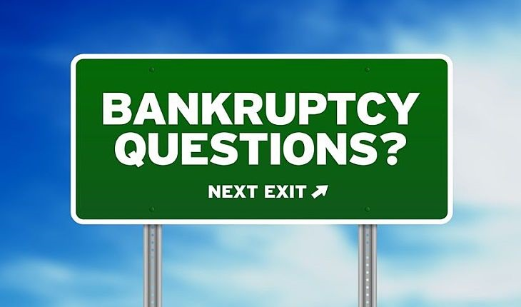 Bankruptcy of Listed Companies; picture of a road sign with green background with the words bankruptcy questions written on it in large white capital letters