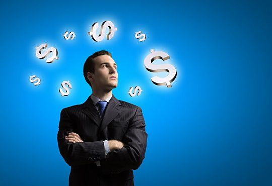 Building Wealth with Passive Investing - picture showing an investor looking upwards at an animated dollar signs floating on a light blue sky background with Passive Investing