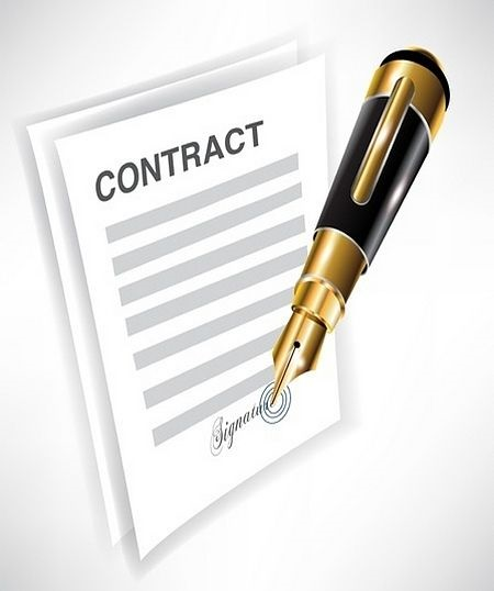 Introduction to Derivatives - derivative contracts; picture of an animated contract with a pen signing the signature for an agreement between investors