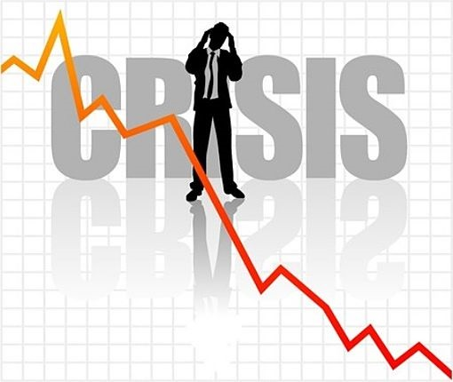 Economy and the 2008 Financial Crisis; picture of the economy crashing downwards during the 2008 crises with investor holding his hands against his head in disbelieve