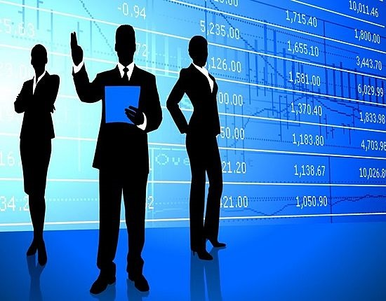 Stock Market Theories - Efficient Market Hypothesis; picture of three investors discussing the stock price movement on a large blue glass wall panel behind them