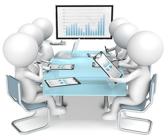 Fundamental Analysis - Financial Ratio Analysis; picture of board room meeting with six investors looking at charts in front of them and a large wall chart