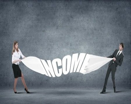 Dividend Investing - Finding Good Dividend Stocks; picture of two investors with the word income written in large capital white letters on a flag being pulled tight