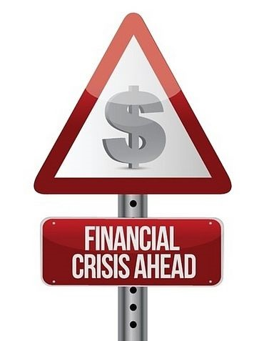 Forecasts and the 2008 Financial Crisis; picture of a road sign with a dollar sign warning that the forecast economy is deteriorating quickly as it crashes down