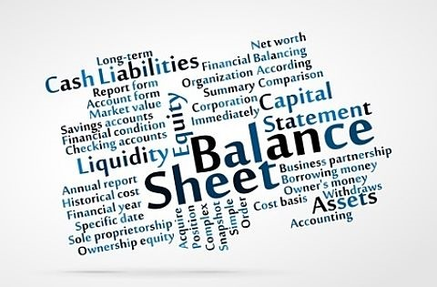 Stock Market Business - Fundamental Valuation; picture of lots of fundamental information wording on a sheets with words saying balance sheet and cash liabilities for value