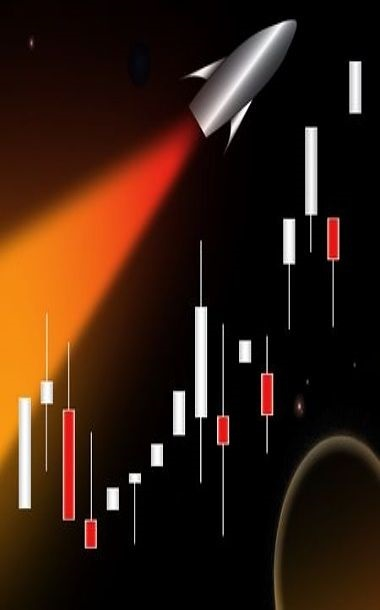 Chart Patterns - High Momentum Stocks; picture of an animated graphics depicting a rocket ship blasting high into space for a momentum move that reassembles a strong stocks price advance