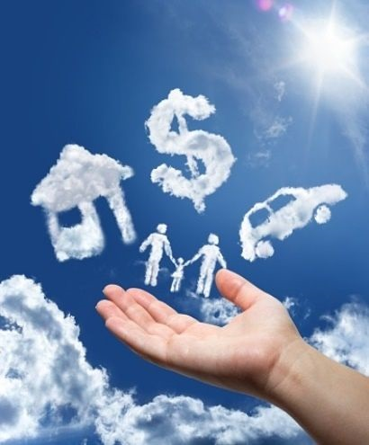 Investing on Margin - How Stock Margin Works; picture of clouds in the sky that resemble a house, a car, three people and a dollar sign with a hand holding them