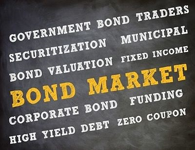 Bond Income Investing Strategies - picture of a blackboard with writing saying bond market in large yellow font and white font writing saying corporate, government, fixed income and coupon