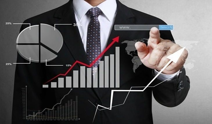 Fundamental Analysis - Industry Based Ratio Analysis; picture of an investor pointing at a glass screen which shows a bar and line chart and a pie chart