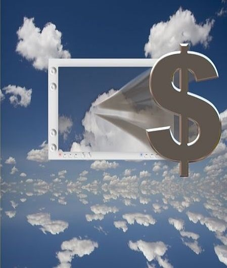 Stock Market Theories - Inflation and PE Ratios; picture of a window in the sky with clouds and a dollar sign coming zooming fast out of the window