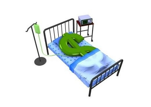 Profits and the Economy - Inflation and the Stock Market; picture of an animated dollar symbol in hospital bed with drip and medical monitor equipment for financial health of inflation