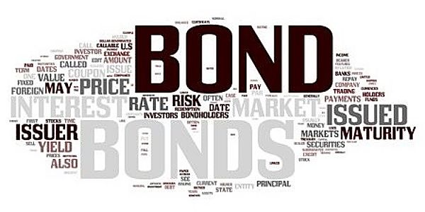 Investing in Bonds for Beginners - Bond Basics; Picture of bonds symbolizing basic concepts for bond investors with lots of writing on a white background with words like issuer maturity and risk.