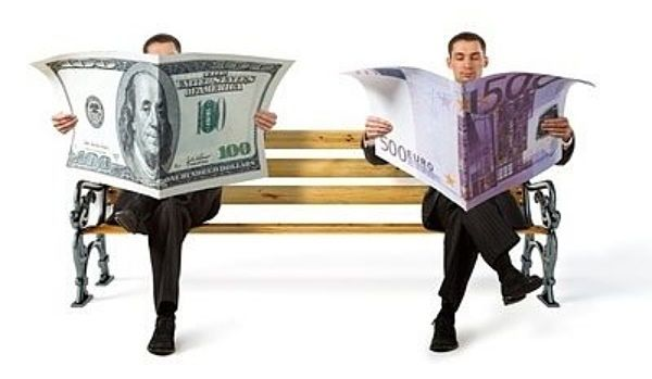 Investing in Bonds for Beginners - Bonds vs. Stocks; Picture of a bond investor and a stock investor sitting on a park bench with each reading a newspaper that looks like money.