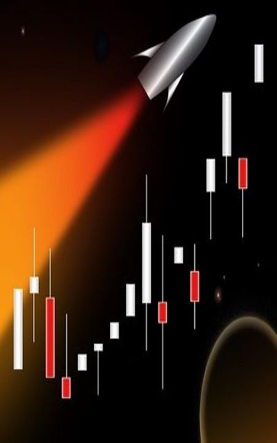 Swing Trading - momentum tactics; picture of a rocket ship going up into space at high speed following the candle bars higher up to signify high profits