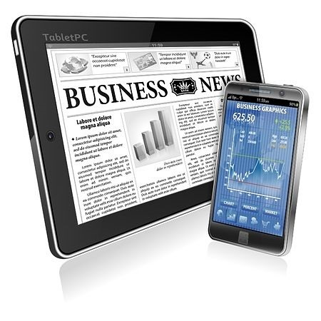 Position Trading - Fundamental Considerations; picture of a business newspaper displayed on a tablet screen and a phone showing a stock price chart with earnings and quote data