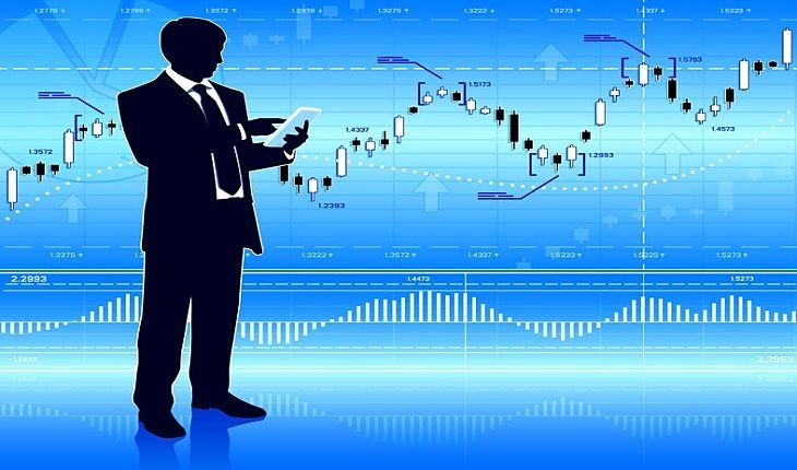 Stock Option Trading Strategies - picture of an animated stock trader checking a chart for trading options as the market trends higher over time with increasing prices