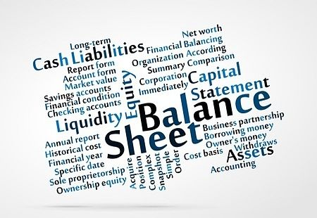 The Investing Style of Peter Lynch; Picture of all of the accounting terminology showing terms used by stock investors such as balance sheet and cash liabilities.