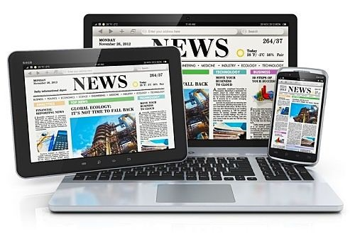 Contrarian Investing - Profit from Bad News; picture of newspapers on a computer screen and on a table screen and also on a phone screen
