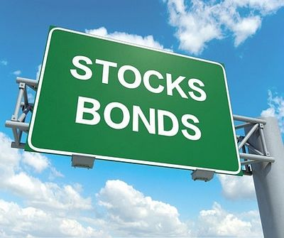 Understanding Bonds - The Bond and Stock Portfolio; picture of a large overhead road sign with large white writing on a green background board with a blue cloudy sky behind it