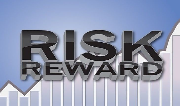 trade management Risk-Reward Ratio - animated picture of a stock line chart in an uptrend with the words in large three dimensional capital letters saying risk reward on a light blue background