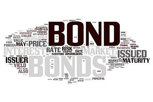 Selecting a bond Fund - animated picture of lots of writing with the main word bond in large font brown capital letters on a white background