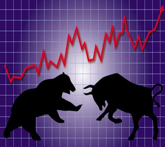 Stock Investing Part 1 - Stock Market Cycles; Picture of a bull and a bear animal symbols depicting stock investing cycles with a solid red line chart plotted on a purple background.