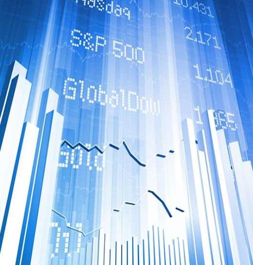 Stock Investing Part 1 - Stock Market Indices; Picture of a stock market indices chart for investors shown as three dimensional animated vertical bars on a bright blue background.