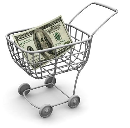 Stock Investing Part 1 - Stock Dividends; animated Picture of a shopping trolley with a United Sates of America 100 dollar bill inside signifying a dividend investment money strategy.