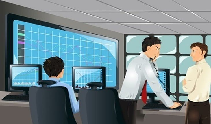 Stock Investing Part 2 - The Art of Stock Picking; Picture of three stock investors looking at stock charts on computer screen with one man on the phone discussing which one to pick.
