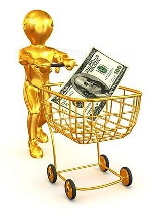 Understanding Stock Options - Premiums; picture of gold animated investor model pushing a shopping trolley with money in it to buy a stock option