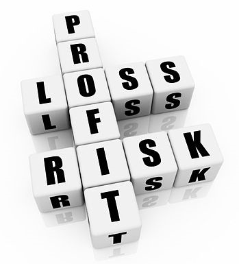 Risk Analysis - Stock Risk Control Tactics; picture of white cubic blocks with letters to spell out the words profit and loss and risk in white large scale font