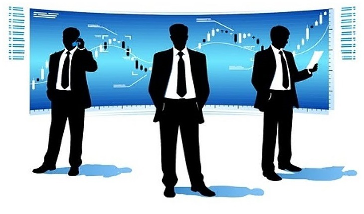 Stock Option Trading - picture three option traders standing in front of a large wall computer screen with a stock increasing in price deciding on the strategy to use