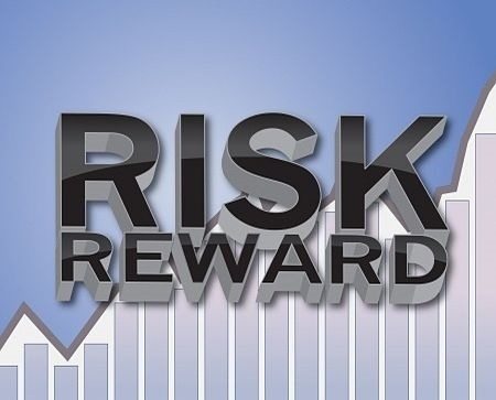 Swing Trading Principles - picture of trading risks for investors with a sign saying risk reward in three dimensional black capital letters against a stock chart on an animated background