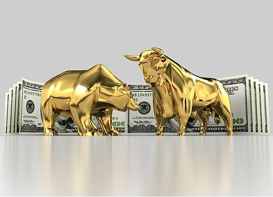 Stock Investing Part 1 - The Stock Market; Picture of a bull and a bear with the animal symbols depicting stock investing ups and downs strength and weakness with money in the background for wealth.