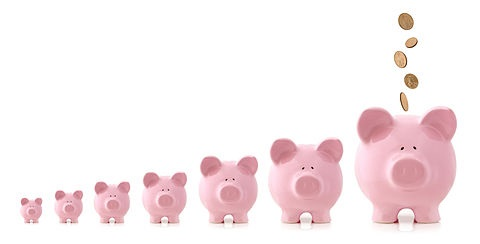 Dividend Investing - The annual growth in Dividend Yields; picture of seven money saving piggy banks arranged in order from smallest to largest