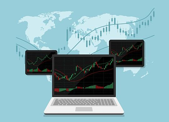 building wealth with passive investing - animated picture showing a laptop computer and two tablets with black screens and stock market charts showing Cyclic Nature of the stock market