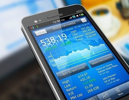 Day Trading - picture of a stock price quote and watch list on a phone used by day traders to place their orders to buy and sell