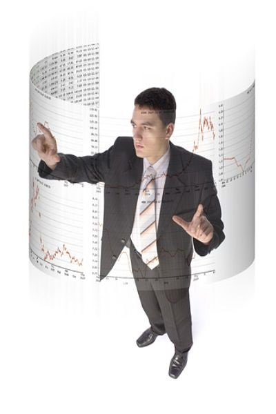 The Dow Theory Today; picture of an investor pointing at the stock chart on a curved wall panel using Dow theory today to check for stock price rally
