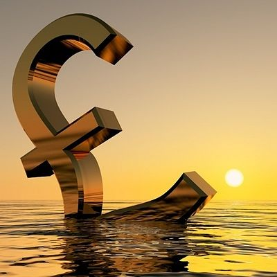 The Investing Style of George Soros; animated three dimensional Picture of the British Pound sign floating in the ocean with the sun going down. George Soros also invested in currencies.