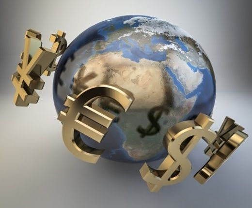 The Investing Style of George Soros; Picture of an animated globe of the world depicting global investing in stocks and currencies shown with the dollar sign and the yen sign.