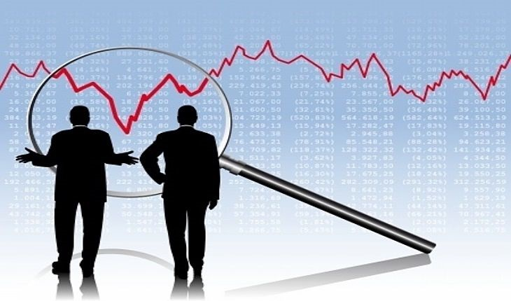 Technical Analysis - the line chart; picture of two stock traders analyzing a line chart for a stock using a magnifying glass to see the detail of the price dip before the price fully recovered