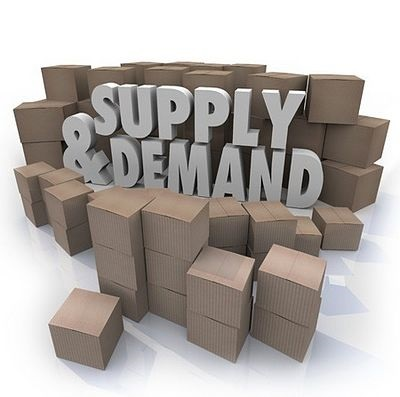 Stock Market Theories - The Principle of Supply and Demand; picture of lots of cardboard boxes with a sign in front saying supply and demand in large grey letters
