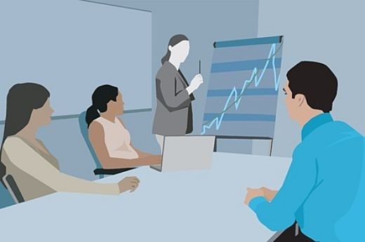 Risk Analysis - The Stock Price Roller-Coaster Ride; animated picture of a lady showing stock charts to three investors while sitting in an office