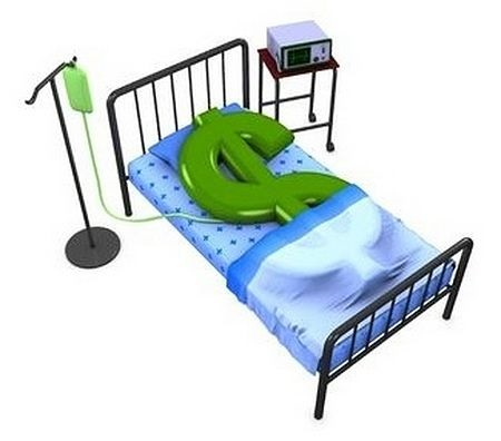 trade management Trading Psychology - picture showing a sick animated dollar sign laying in a hospital bed waiting for a recovery to get better depicting the emotional state of the stock trader